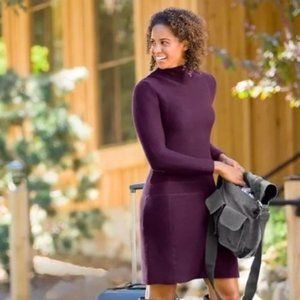 Athleta Riverhead ribbed plum sweater dress